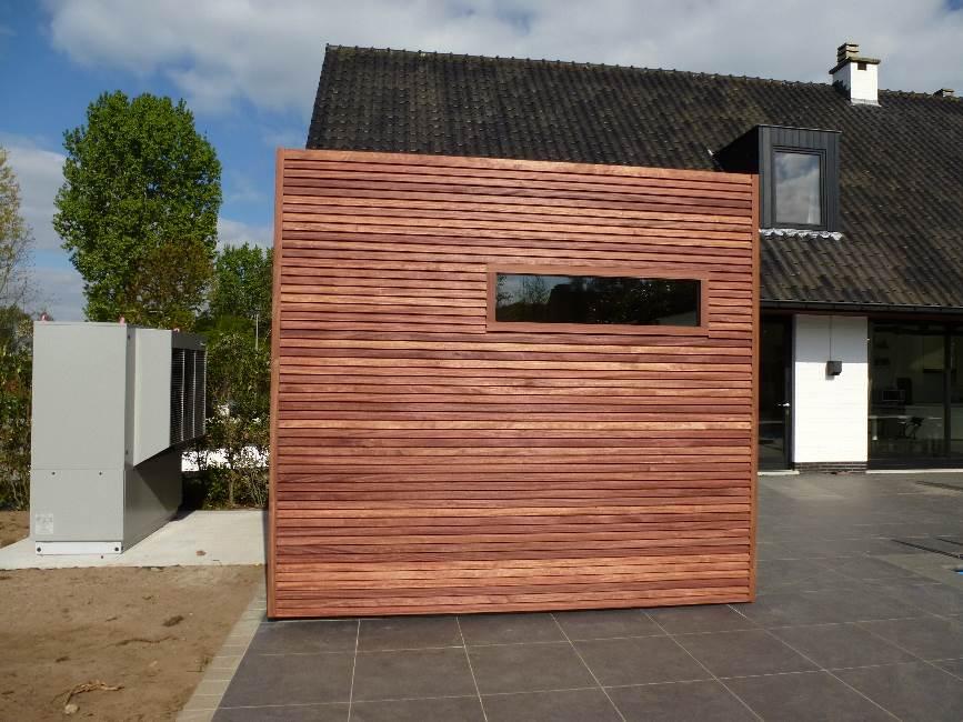 Houten bijgebouwen hout constructies de bruycker - Interieur gevelbekleding houten ...